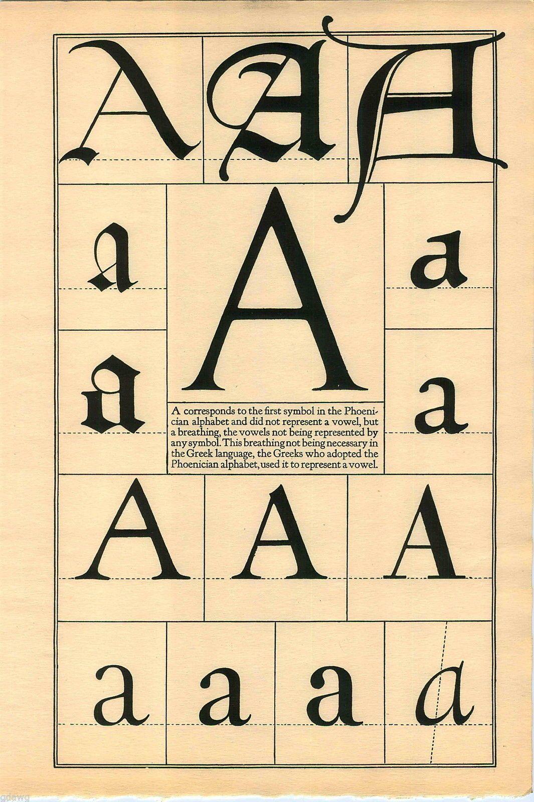 1922 Book Print Letter A Greek Roman Alphabet Design Typography Frederic Goudy Ebay Lettering Alphabet Alphabet Lettering Design