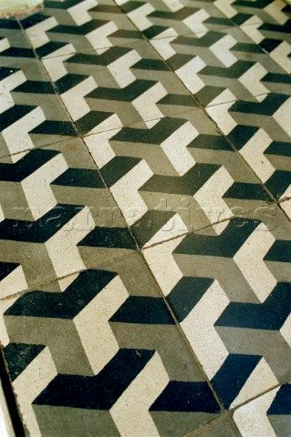 Black and white geometric floor tiles in a market in the rioja black and white geometric floor tiles in a market in the rioja region in spain ppazfo