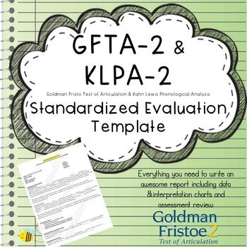 Articulation  Phonology Speech Evaluation Report Template