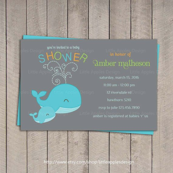 whale baby shower invitation / baby shower by littleapplesdesign, Baby shower invitations