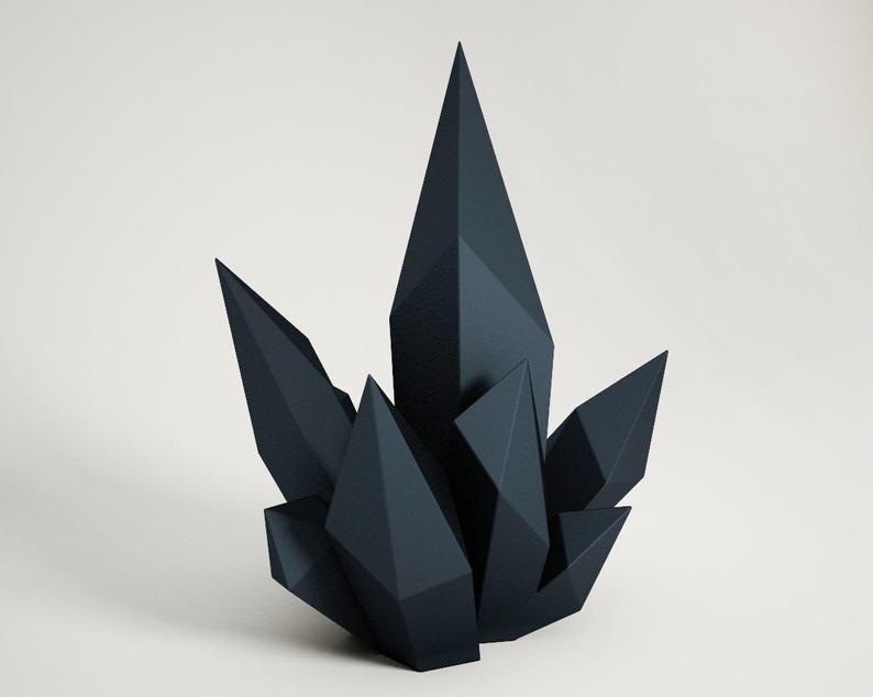 Diy Paper Craft Crystal 3d Papercraft Model Pdf Template Low