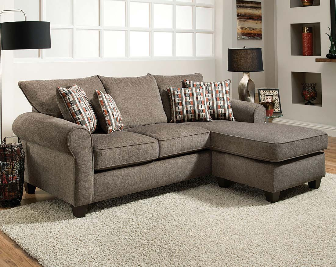 The Mickey Slate Two Piece Sectional Sofa Is A Gray Couch With A