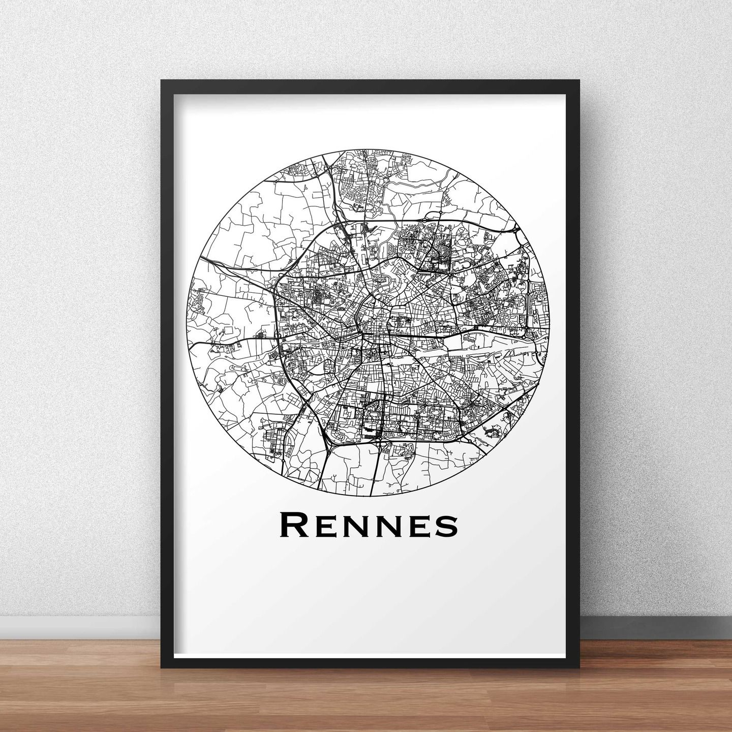 affiche a3 carte rennes minimalist map city map poster de ville d coration murale plan de. Black Bedroom Furniture Sets. Home Design Ideas