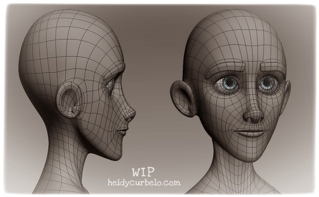 Face topology of a more cartoony character to create.   Heidy Curbelo. Designer and 3d Artist: Holidays WIP