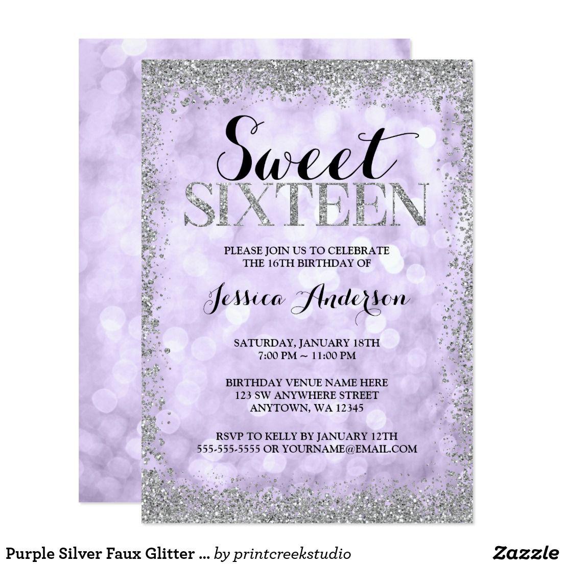 Purple Silver Faux Glitter Lights Sweet
