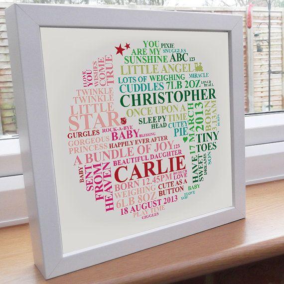 Personalised Twins Word Art New baby gift Bespoke by AliChappellUK, £16.00