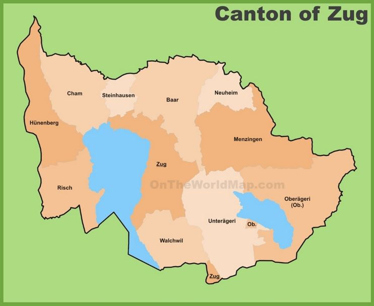 Canton of Zug municipality map Maps Pinterest Switzerland