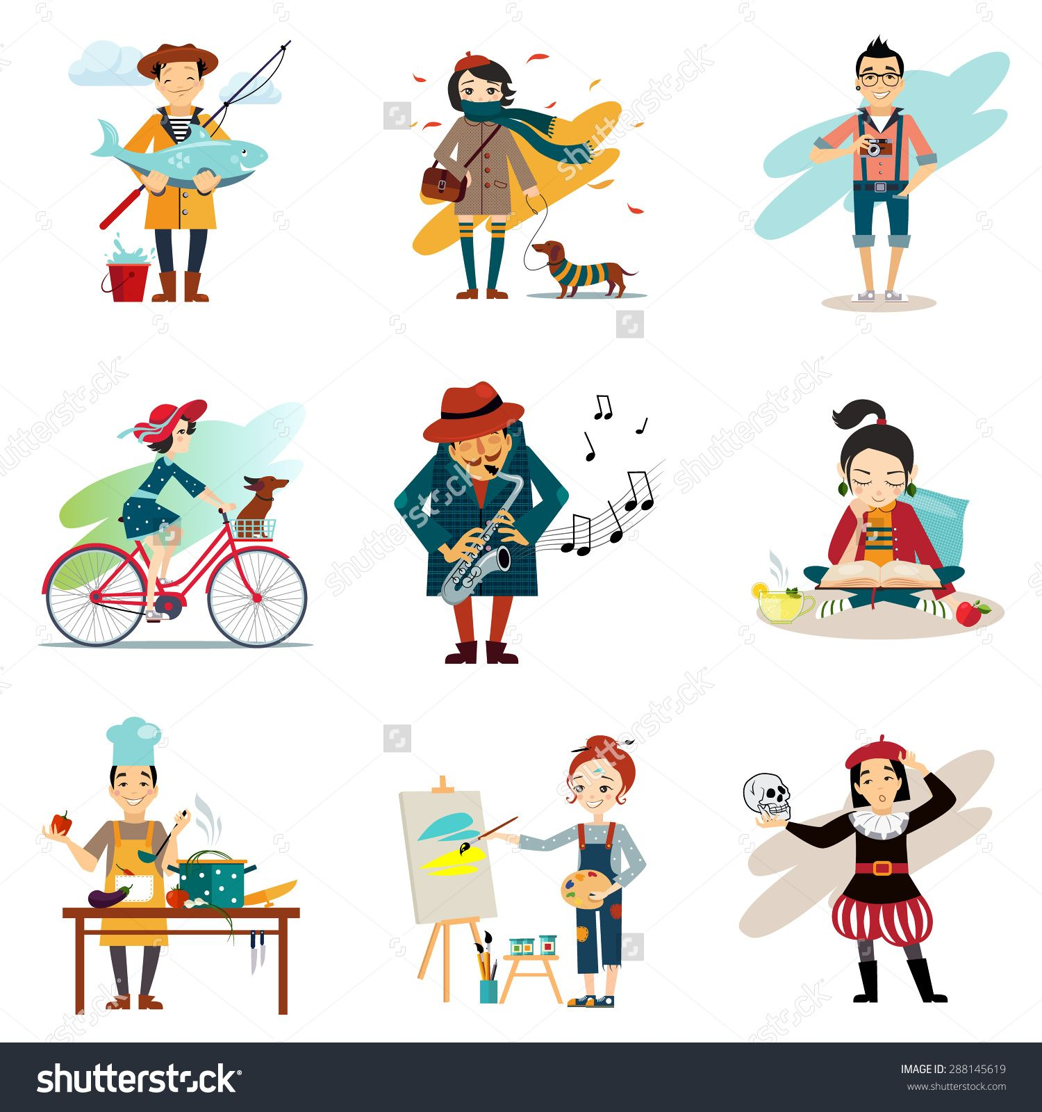 Active Lifestyle Hobbies Healthy Lifestyle Icons Set