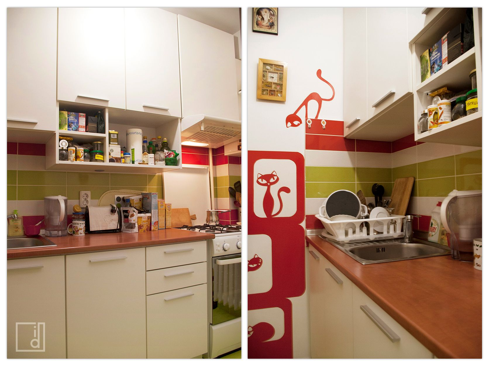 Yummy Green The 4 Sqm Kitchen Has Bold Colors And Plenty Of Storage Everything Is At Hand And Cooking Is Fun