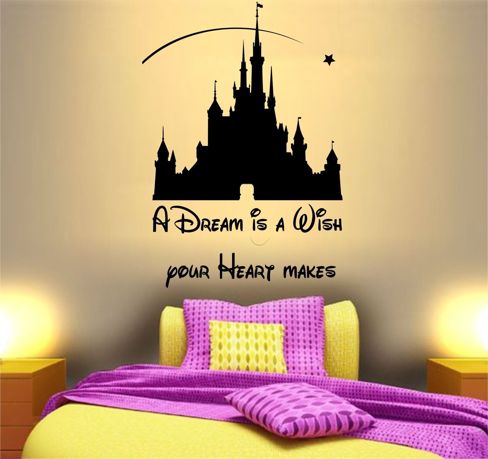 Quote dream #disney castle fairy wall art sticker decor girls ...
