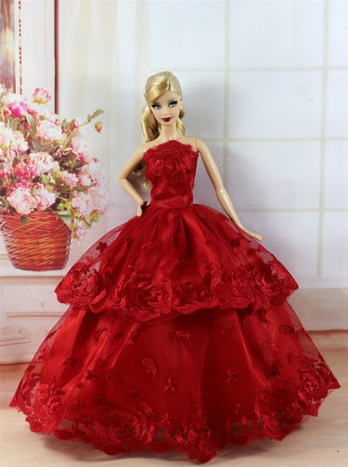 Barbie Doll Red Asian  Mini Dress Clothes Party Costume