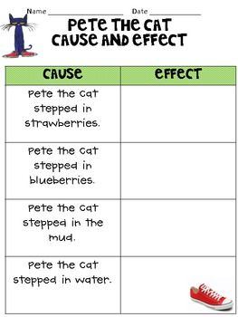 Pete Cause and Effect (perfect cause my kids LOVE Pete the Cat ...