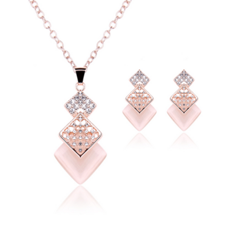 La Mia Cara Jewelry - Caramella - Pink Square Crystal Rose Gold Pendant Necklace & Earrings Set