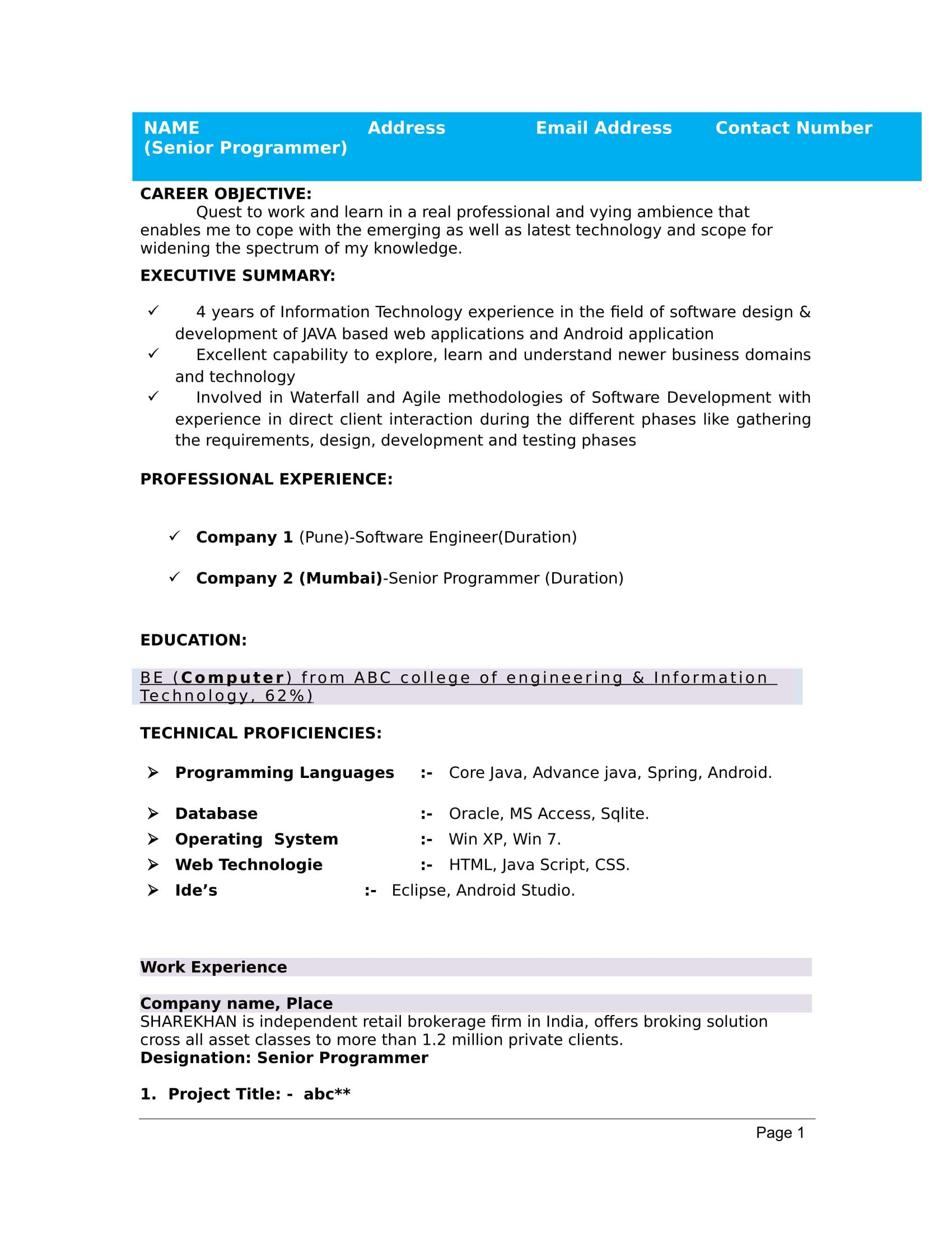 29+ Best free resume templates for freshers Examples