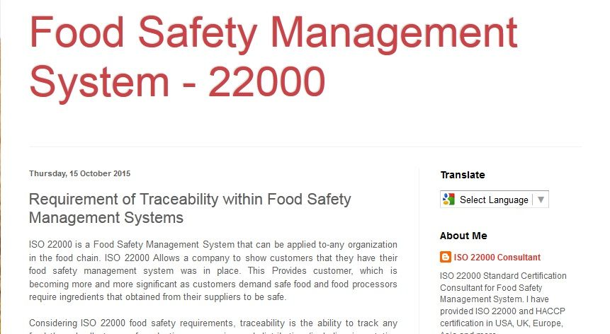 Requirement Of Traceability Within Food Safety Management Systems