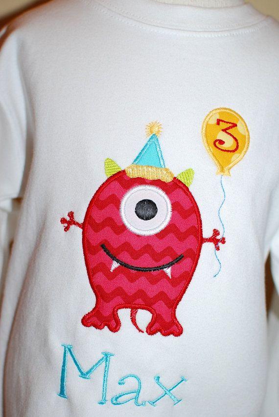 INSTANT DOWNLOAD Machine Applique Design Birthday Monster