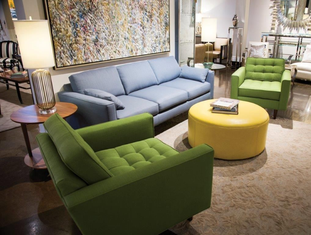 Maxime Chairs, Metro Sofa And Sawyer Leather Ottoman