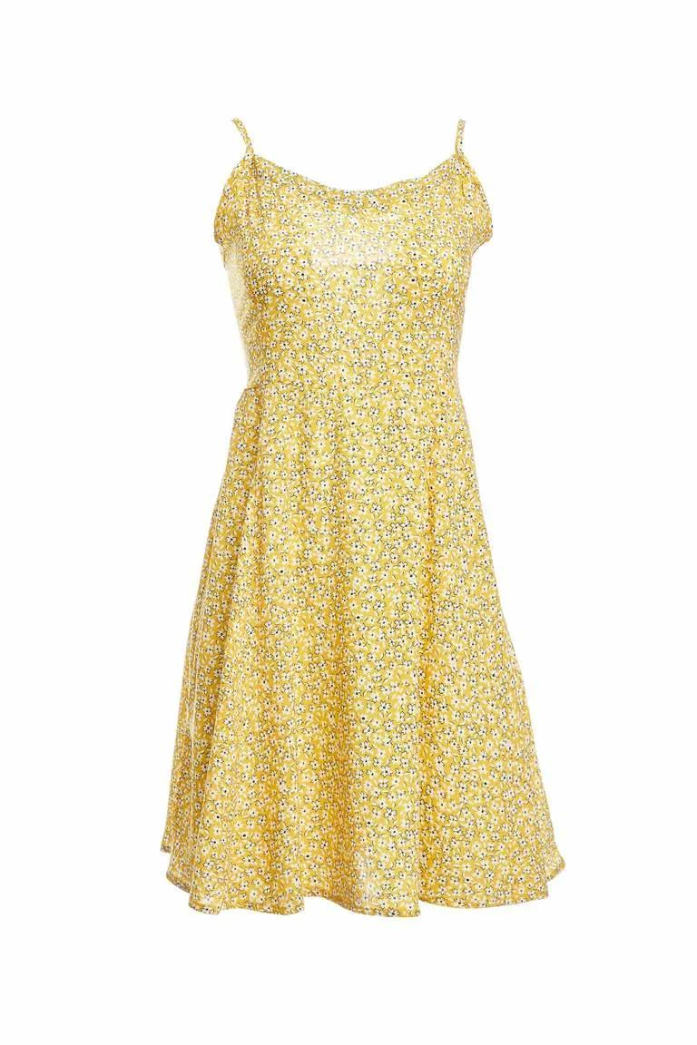 Sari Kadin Askili Desen Detayli Dokuma Elbise 1250121 Defacto 2020 Moda Stilleri Yazlik Kiyafetler Elbise