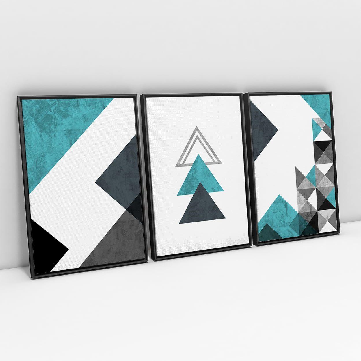 Quadro Abstrato Geométrico Sweet Home Azul - Kit 3