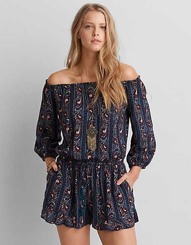 d2c8e5634631 AEO Off-The-Shoulder Long Sleeve Romper