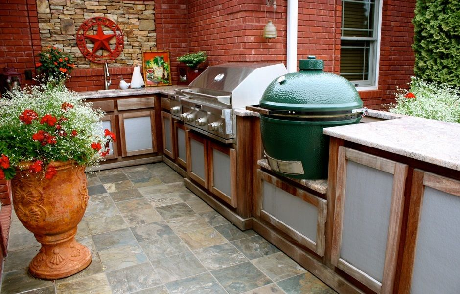 kitchenaid outdoor kitchen with extra large big green egg kamado grill and rust outdoor on outdoor kitchen bbq id=58487