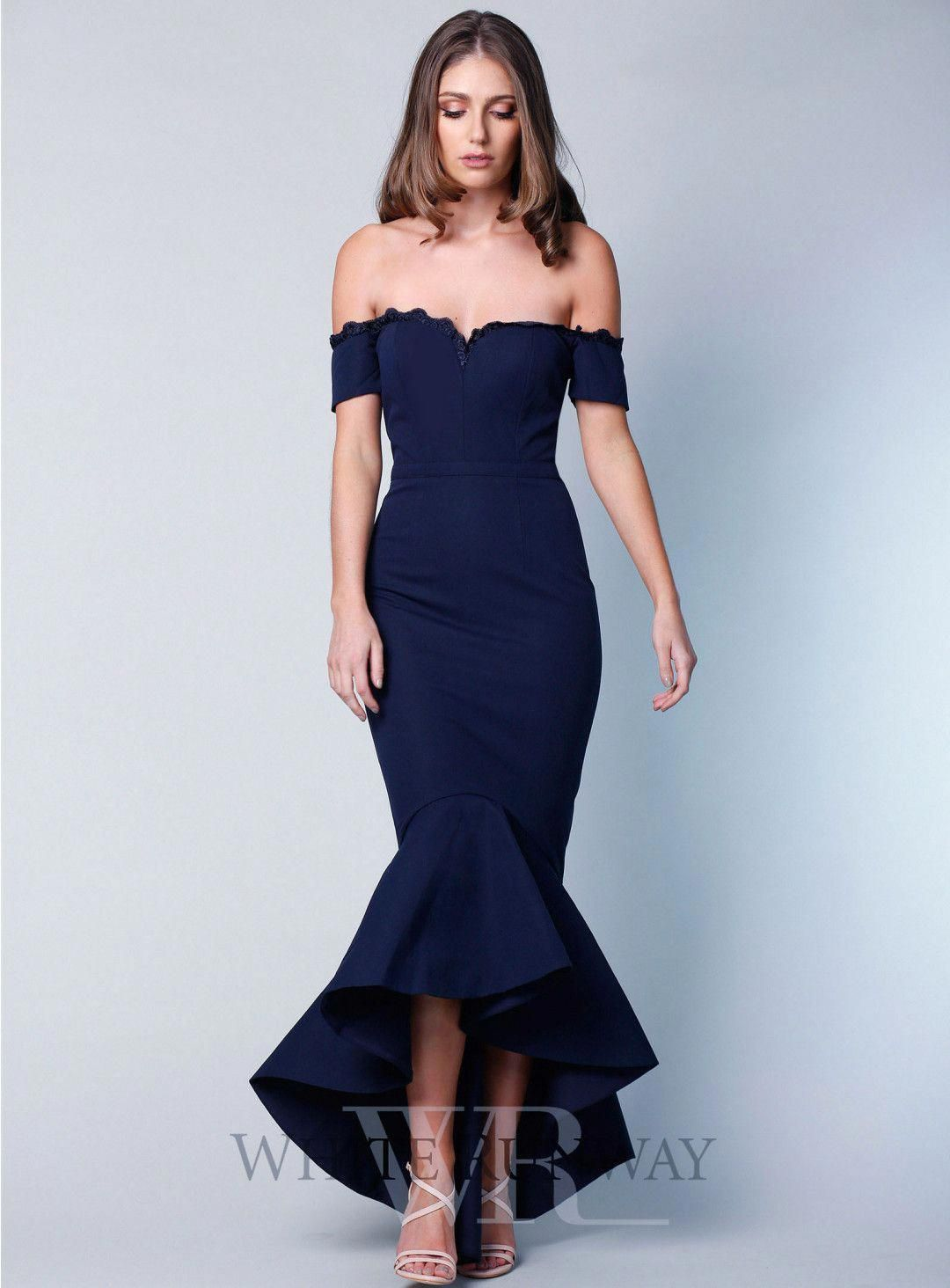 defaf170b9f1 Camille Dress. A stunning midi length dress by Elle Zeitoune. A fitted  off-shoulder style featuring mermaid fishtail and thin lace on the neckline.