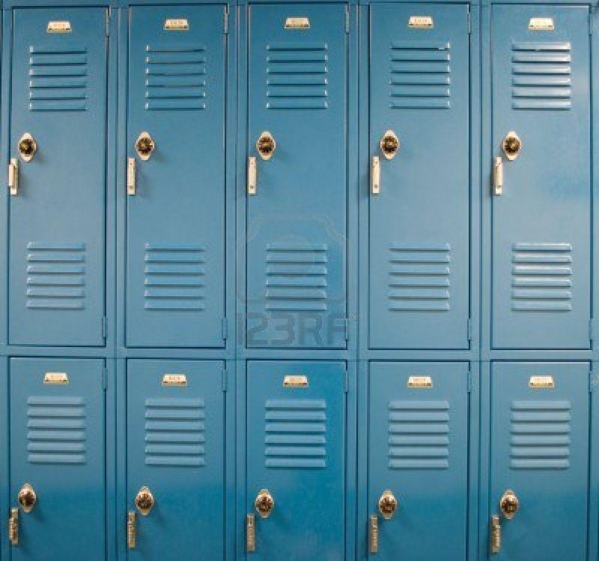 4577534 Blue School Lockers In A Hallway With Locks Jpg 1200 1125 School Lockers Lockers Printed Backdrops