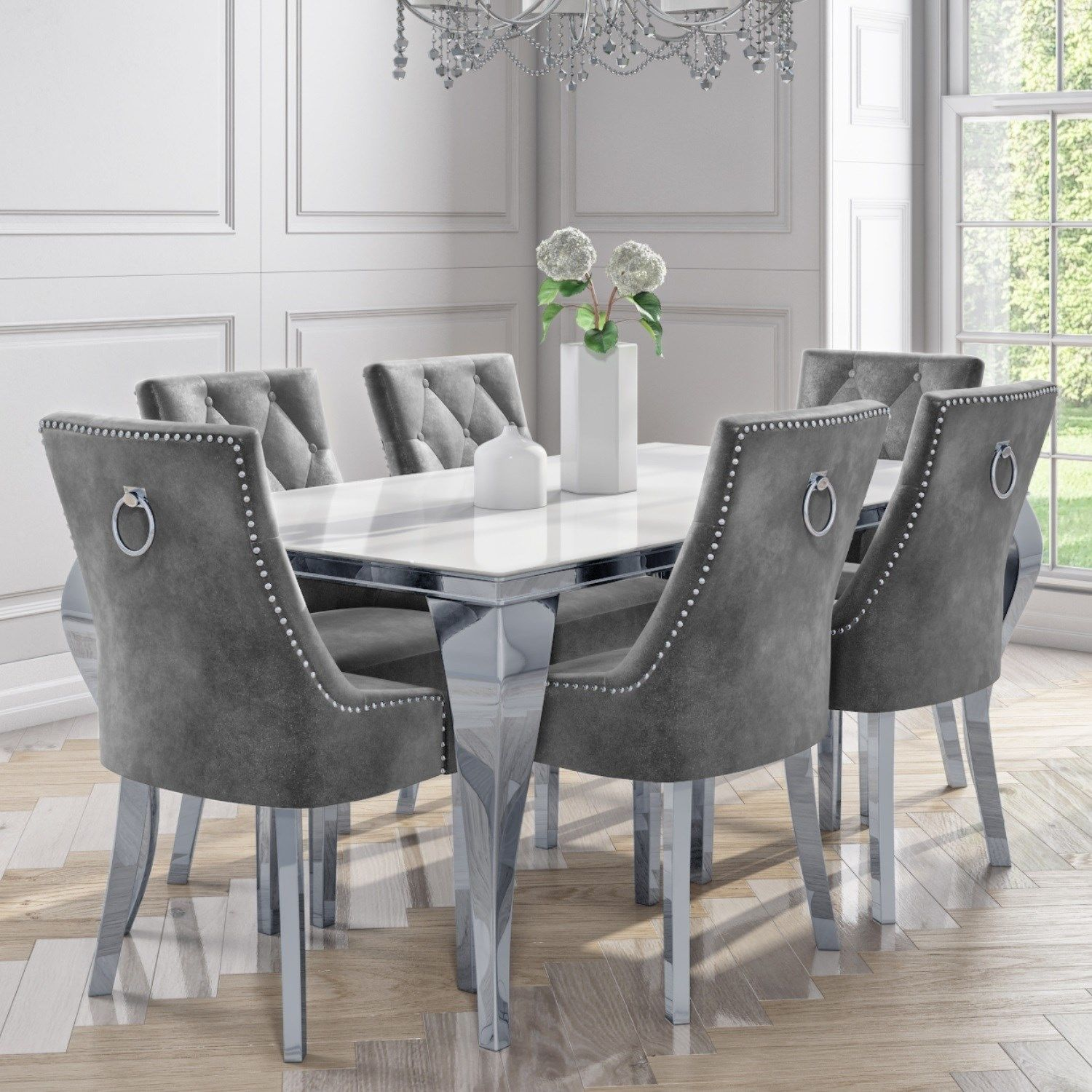 White Mirrored Dining Table with 8 Chairs in Grey Velvet - Louis