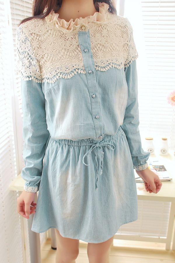 Vintage Lace Cute Denim Dress - OASAP.com | Lace, Home and Vintage