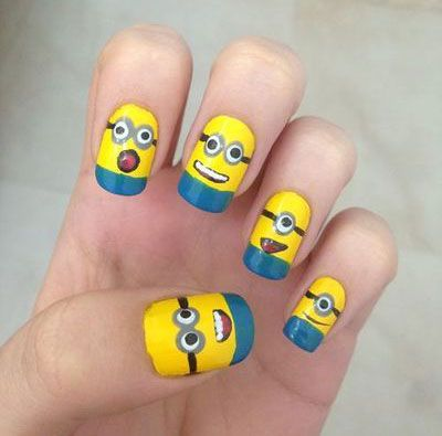 Find this Pin and more on Cutee(;. awesome Minion Nail Art Design ... - Haha!! @KaydeWood @Ashlee Outsen Outsen Green @Hannah Mestel Mestel