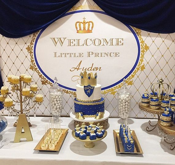 Royal Blue Gold White Prince Themed Printable Backdrop Birthday