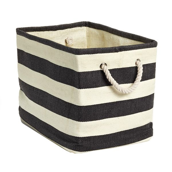 Charcoal Ivory Rugby Stripe Storage Bin With Rope Handles Container Store Stylish Storage Storage Bins
