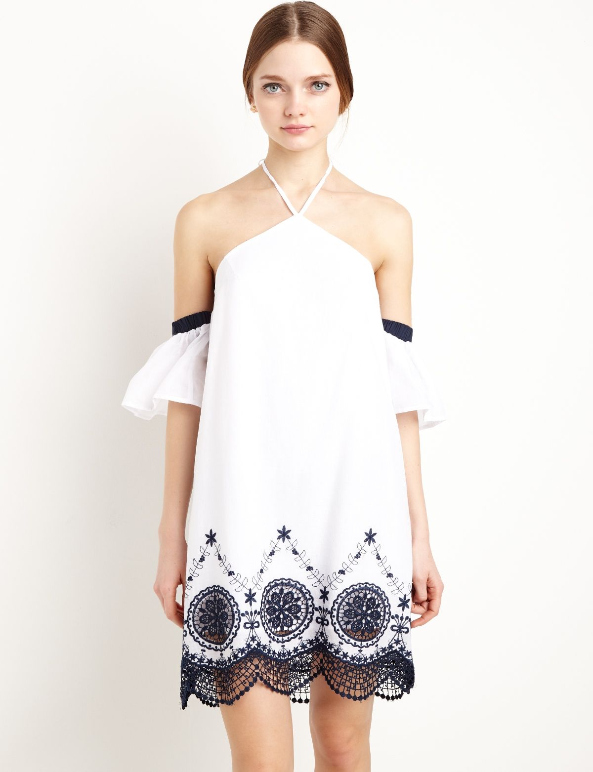 White Embroidered Detached Sleeve Dress #fashion #pixiemarket | Cute ...