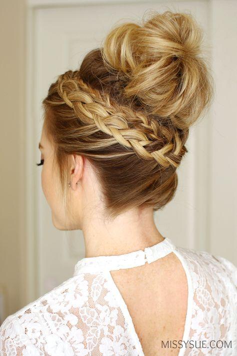 Dutch Braid High Bun Hairstyle Tutorial Haar Stylen Pinterest - High bun hairstyle tutorial