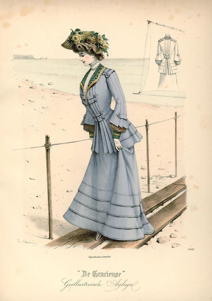 "Published in Dutch magazine ""De Gracieuse"" on August 12 1902 vintage fashion plate #edwardianperiod"