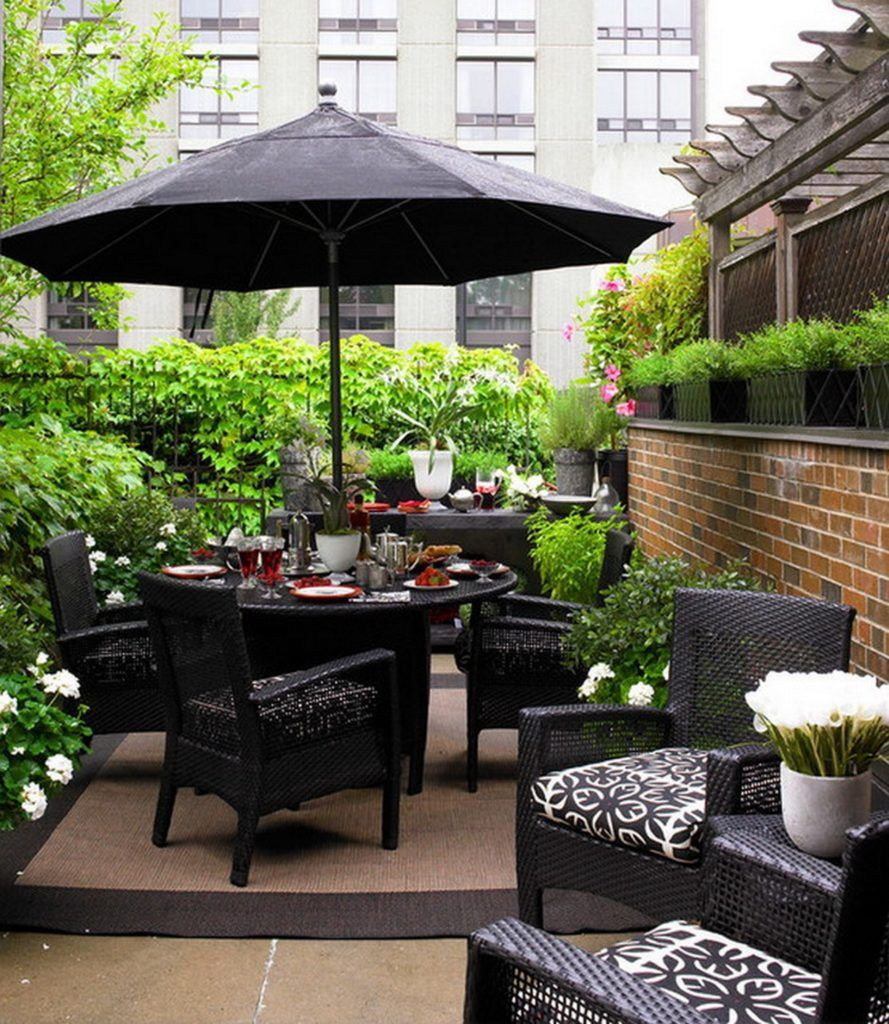 black wicker outdoor patio furniture with umbrella for small patio ideas - Pinterest Small Patio Ideas