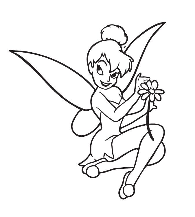 Coloring Sheets | TinkerBell Pick Flower Coloring Page ...