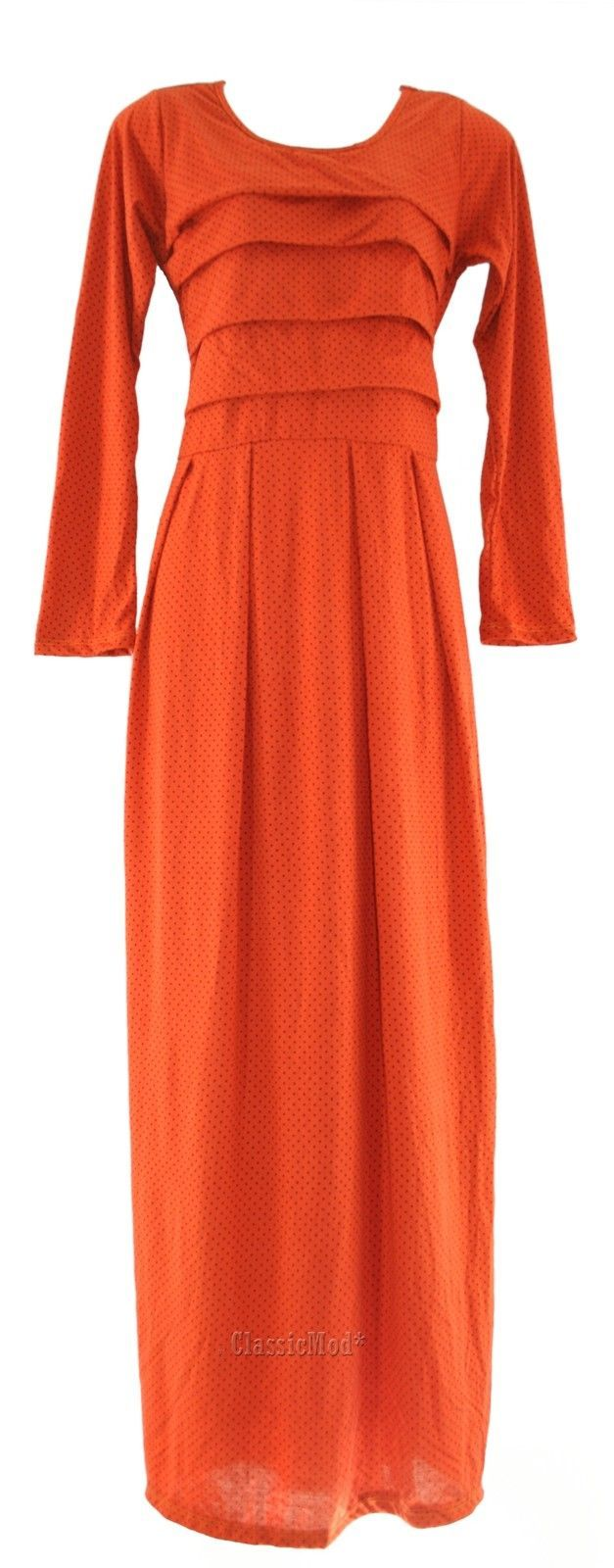 Women ladies long sleeves polka dot modern muslimah maxi dress xs s