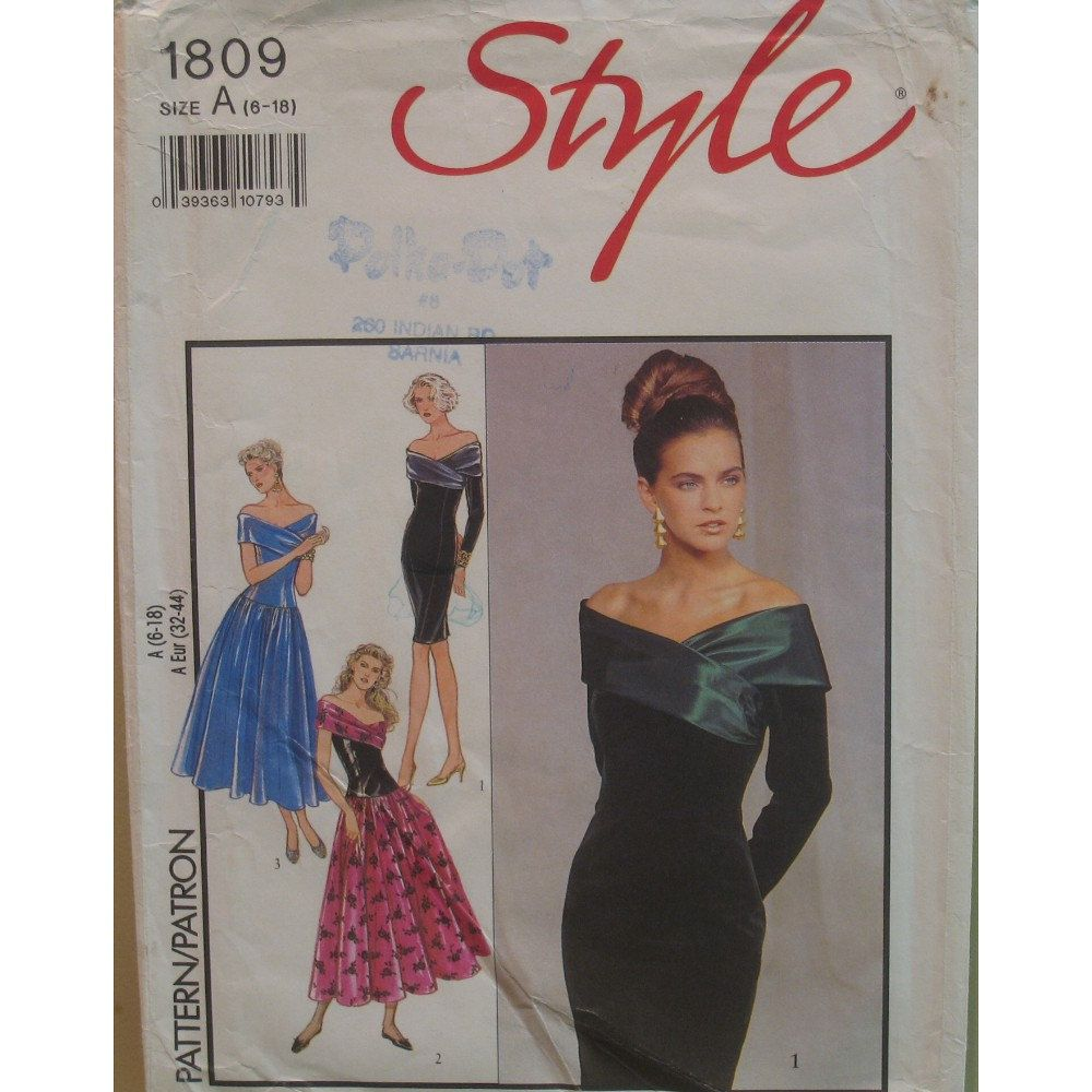 Off the shoulder dress pattern evening prom bride by vogue style off the shoulder dress pattern evening prom bride by vogue style pattern 1809 jeuxipadfo Image collections