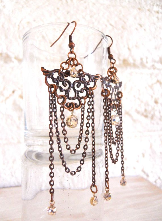 Chandelier Earrings Antiqued Copper With Crystals Asian Inspired - Chandelier jewels crystals