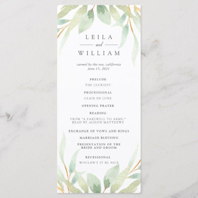 Airy Botanical Wedding Ceremony Program