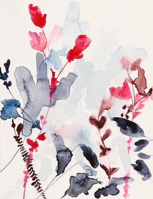 Jen Garrido Aquarelle Fleurs Abstrait Peinture