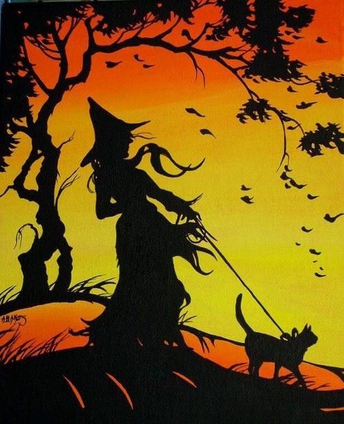 Halloween, Witch, Goblin, Black Cat, Jack-O-Lantern, Bat