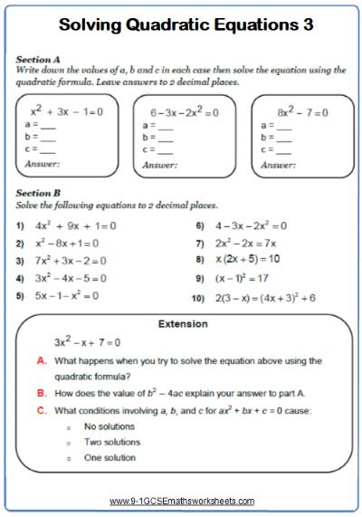 Using the quadratic formula maths worksheet | GCSE Maths Worksheets ...