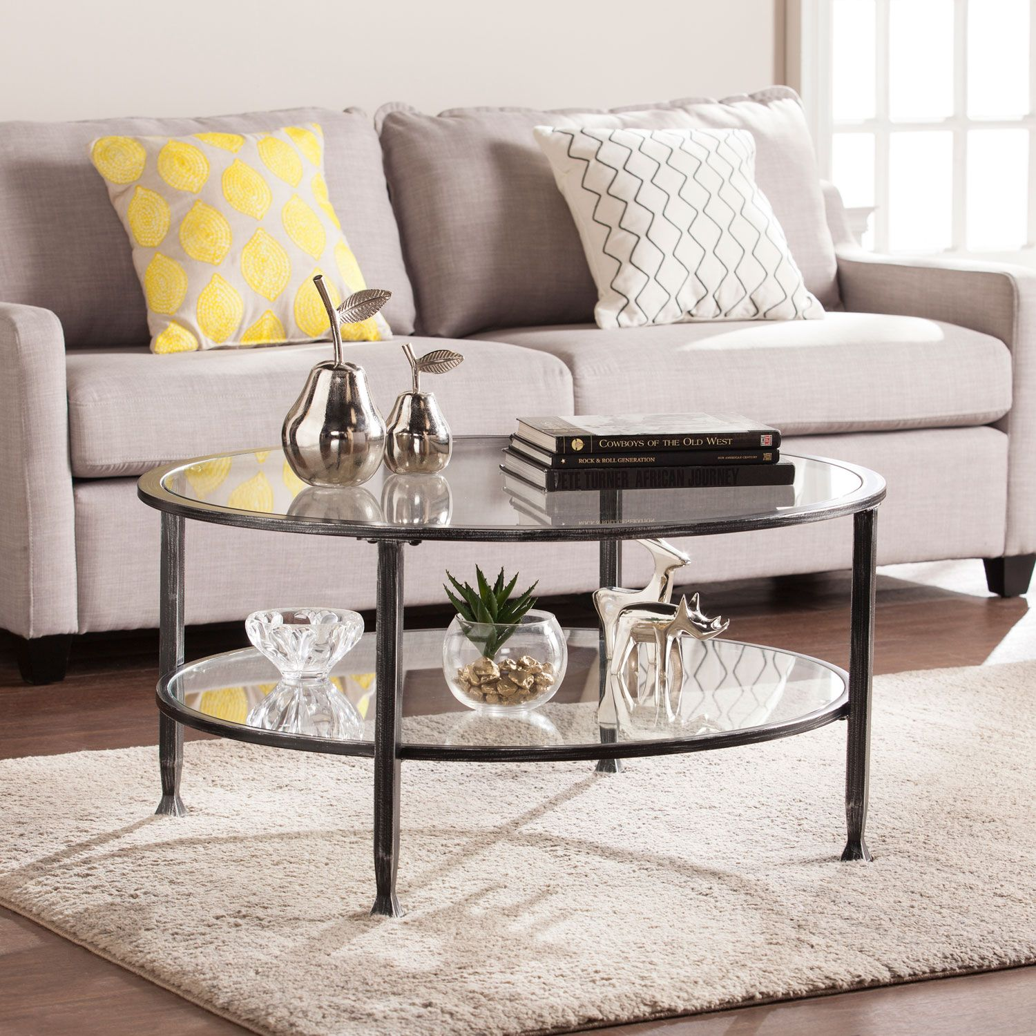 Southern Enterprises Jaymes Black Metal And Glass Round Cocktail Table Ck8740 Bellacor In 2021 Living Room Coffee Table Round Metal Coffee Table Coffee Table With Shelf [ 1500 x 1500 Pixel ]