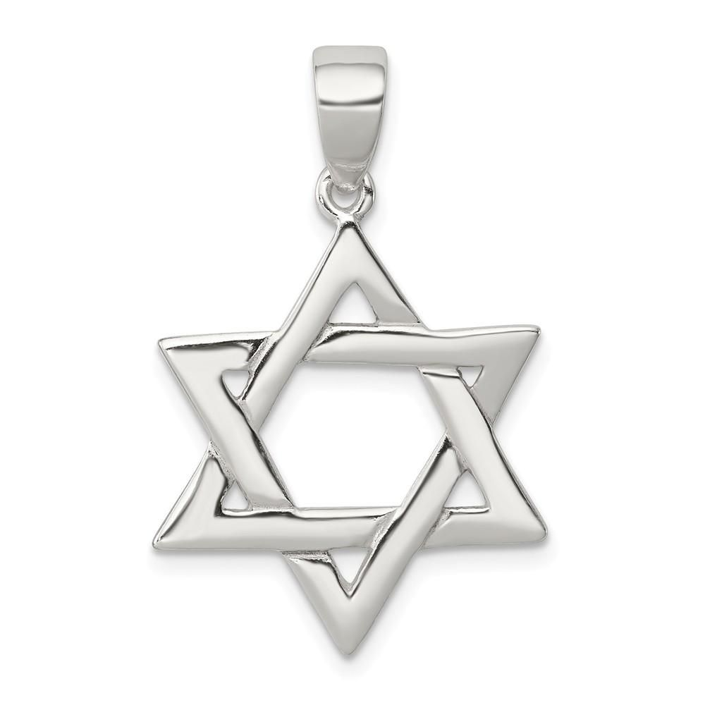 925 Sterling Silver Polished Star of David Shaped Pendant