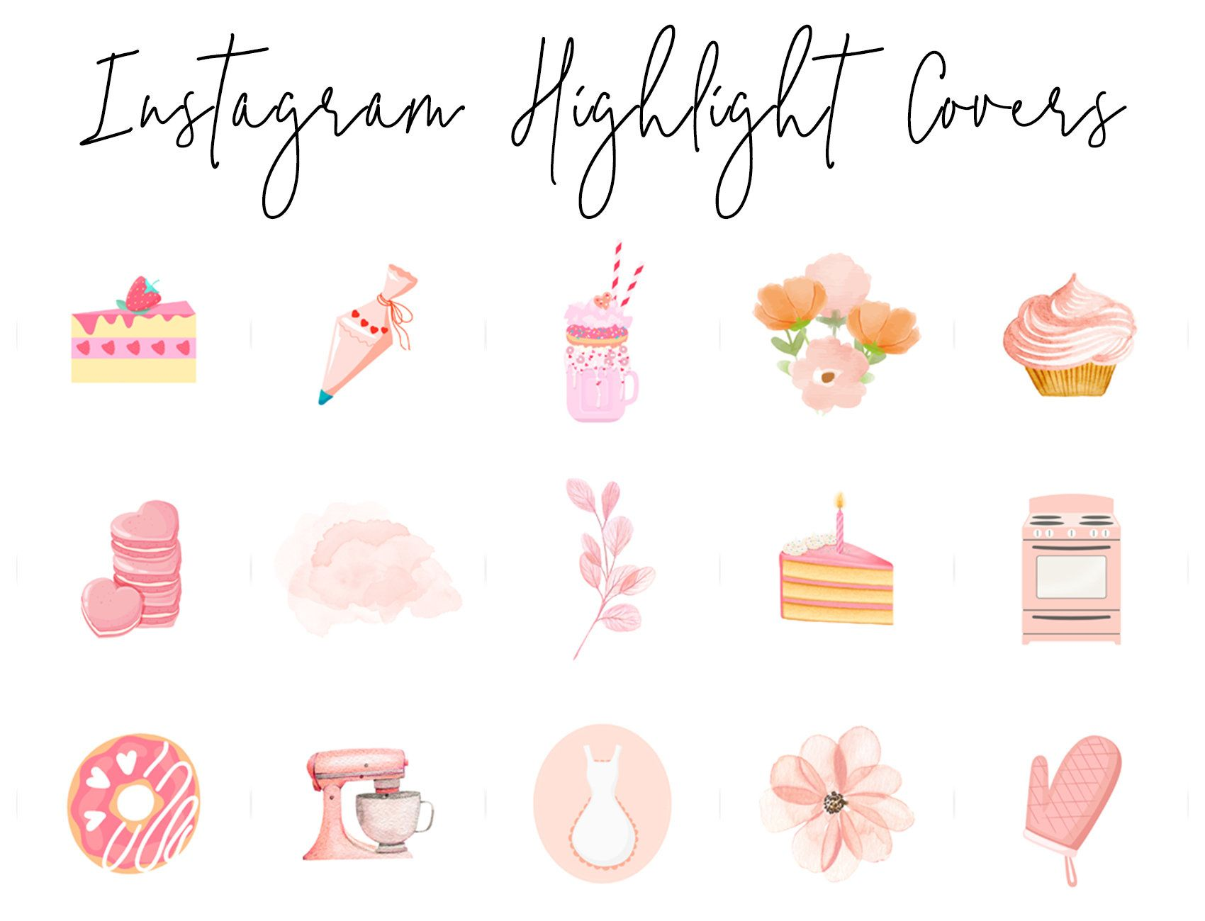 Instagram Story Highlight Icons 16 Pastel Bakery Floral