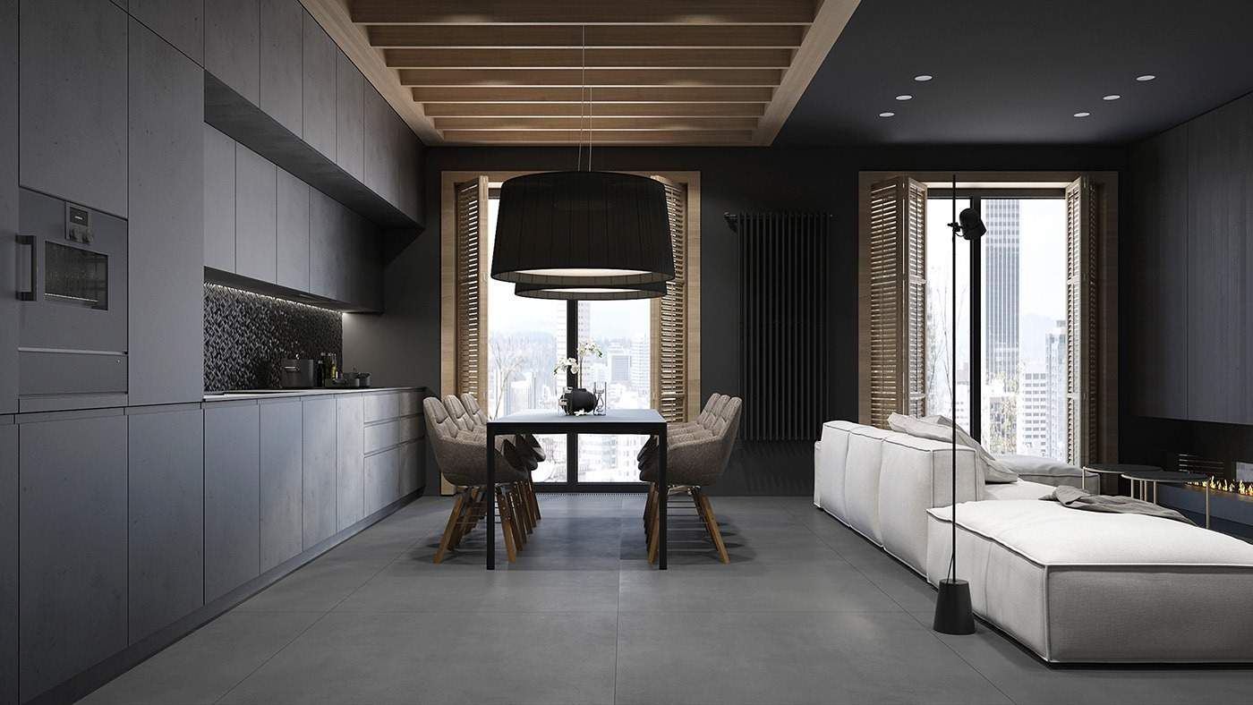 peinture noir mat et parement en bois massif dans 4. Black Bedroom Furniture Sets. Home Design Ideas