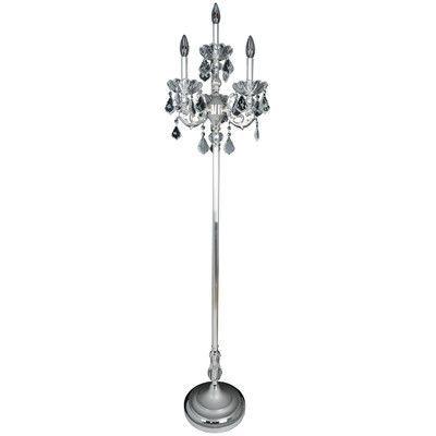 "Allegri Praetorius 65"" Candelabra Floor Lamp Crystal: Firenze Clear, Finish: 2-Tone Silver"