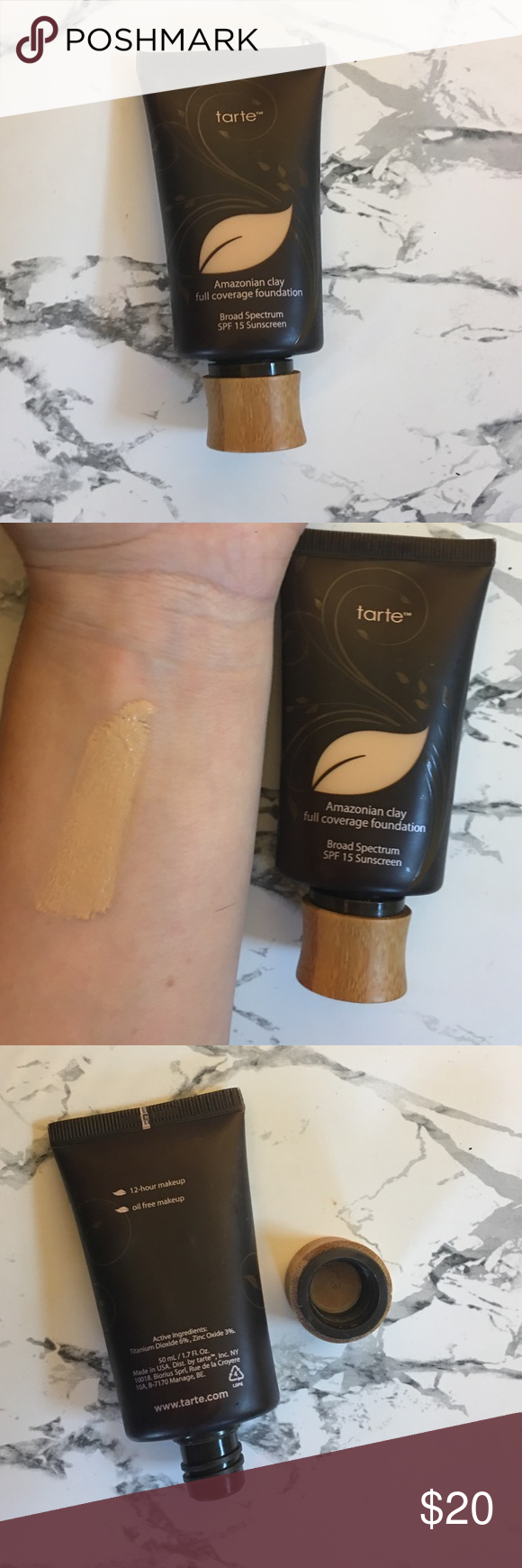 tarte Amazonian clay foundation in light sand tarte Amazonian clay full coverage foundation with SPF 15 in the color Light Sand. 80%-ish full if not more. I've tried to use it a few times but the color is just a little off for me. tarte Makeup Foundation